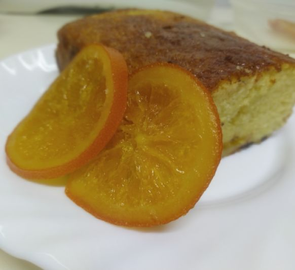 Bizcocho de naranja y chocolate con azúcar invertido