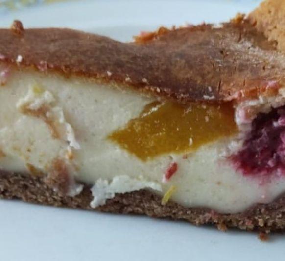 Cheesecake de mango y frambuesas