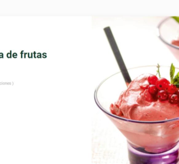 Espuma rápida de frutas congeladas.